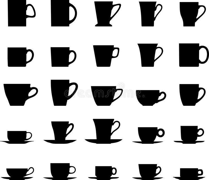 Комплект различных чашек чая силуэтов изолированных дальше иллюстрация вектора
