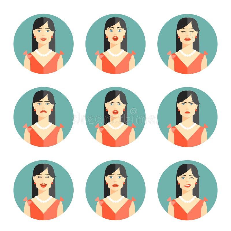 Комплект 9 различных эмоций женщин иллюстрация штока
