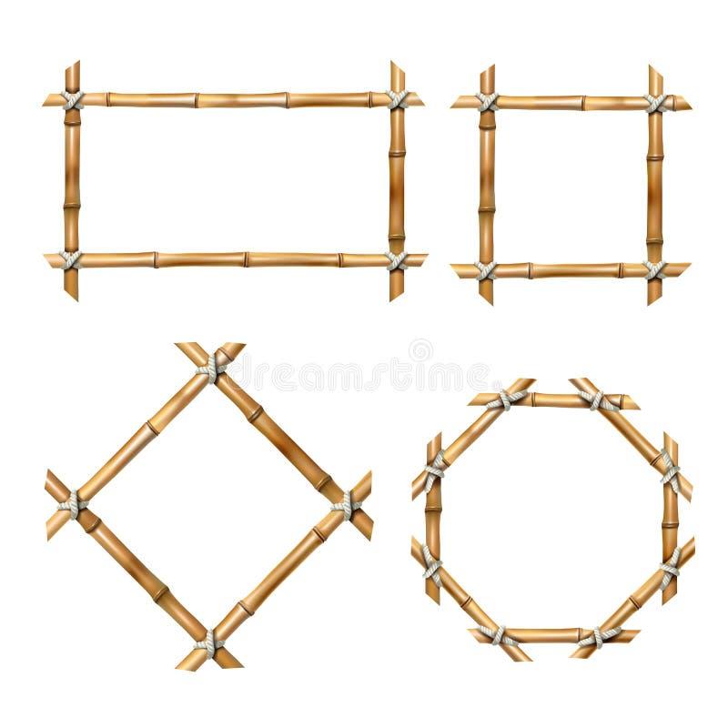 Комплект рамок бамбука вектора иллюстрация штока