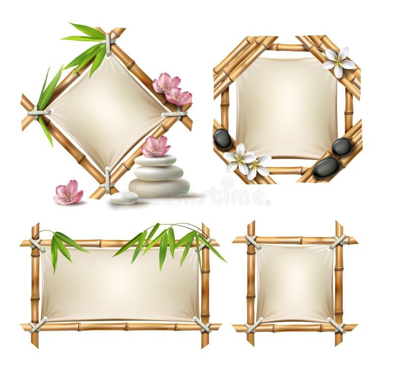 Комплект рамок бамбука вектора иллюстрация вектора