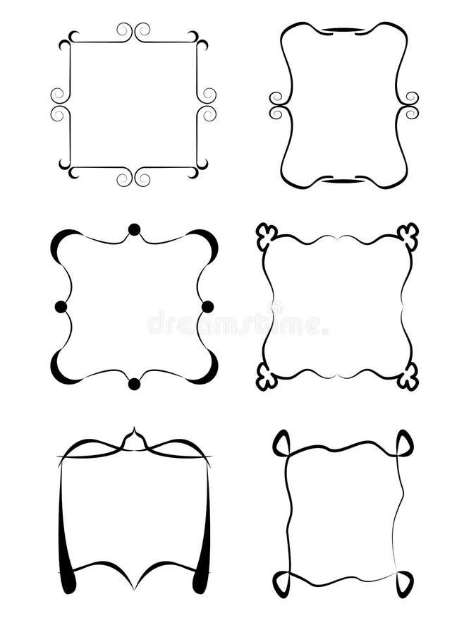Комплект рамок изолированных на белой предпосылке Винтажные рамки собрания бесплатная иллюстрация