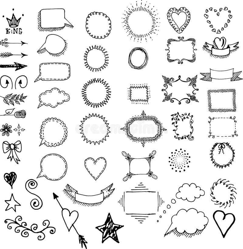 Комплект рамок нарисованных рукой, рассекателей, элементов границ декоративных иллюстрация вектора