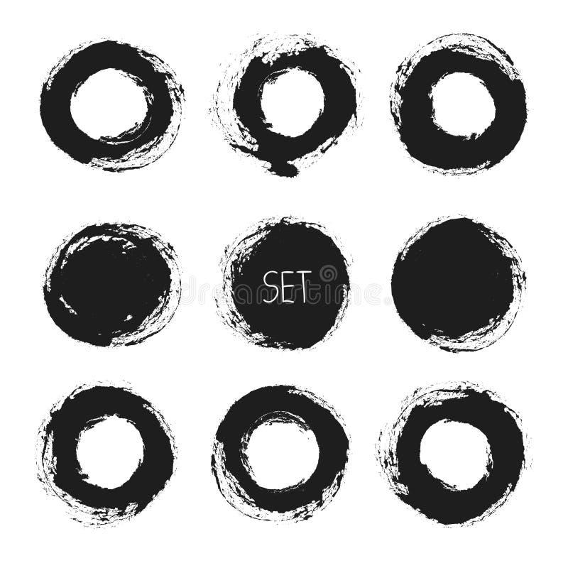 Комплект рамок grunge вектора круглых вычерченная рука бесплатная иллюстрация