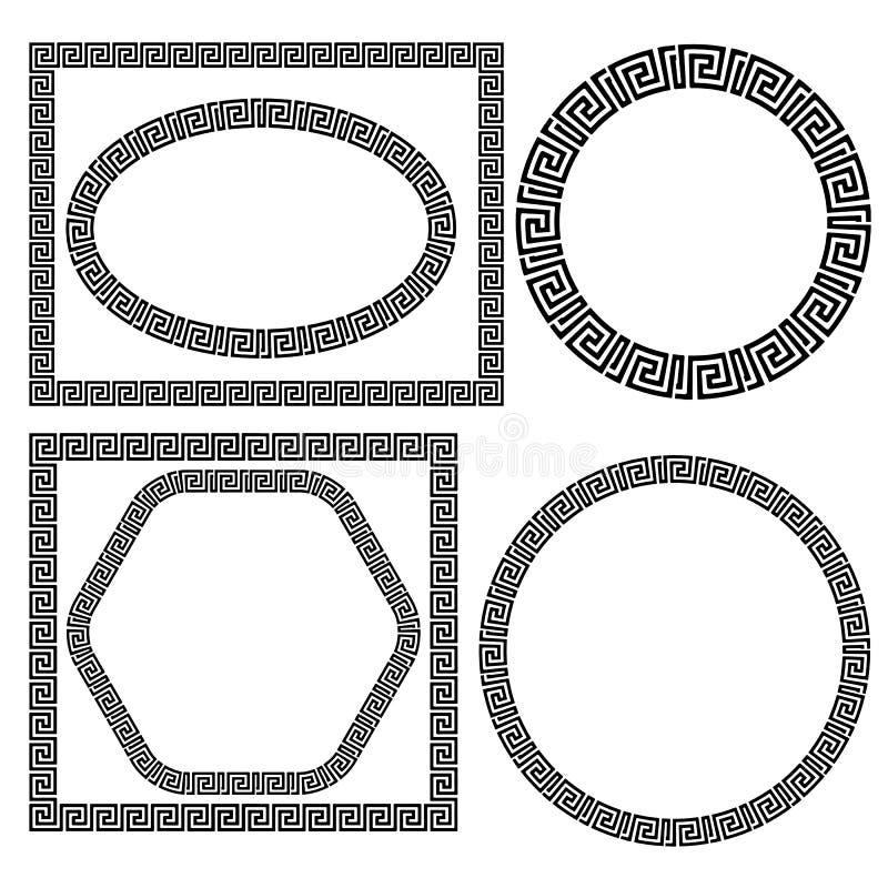 Комплект рамок Ornamenal грека иллюстрация вектора