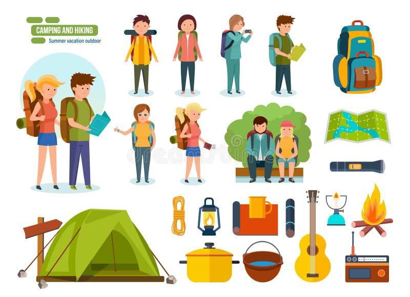 Комплект располагаясь лагерем оборудования, backpackers, альпинистов, для активного воссоздания, люди иллюстрация штока
