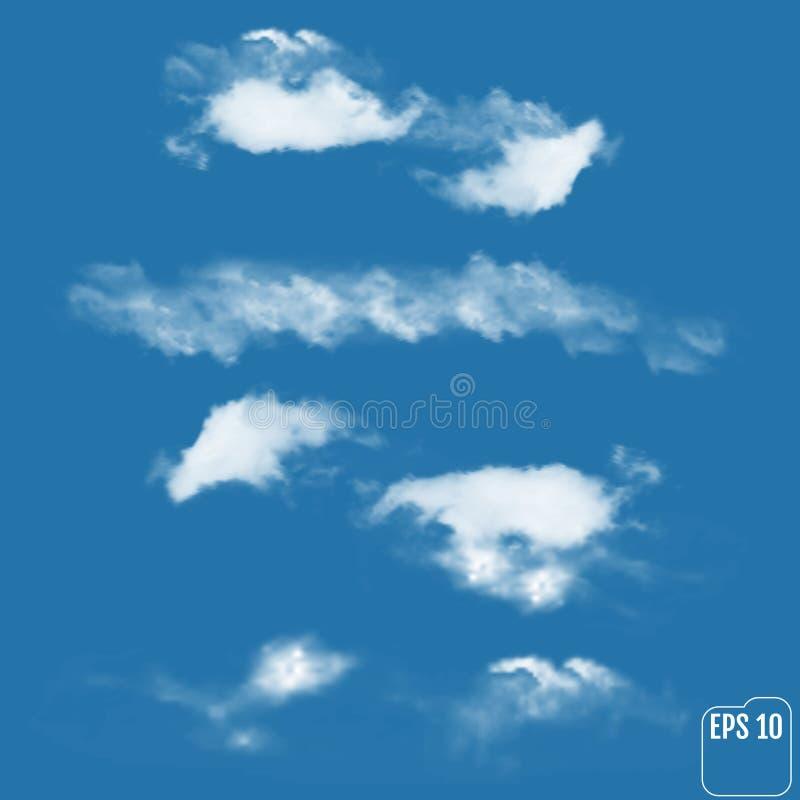 Комплект реалистических облаков на небесно-голубой предпосылке Вектор Illust бесплатная иллюстрация