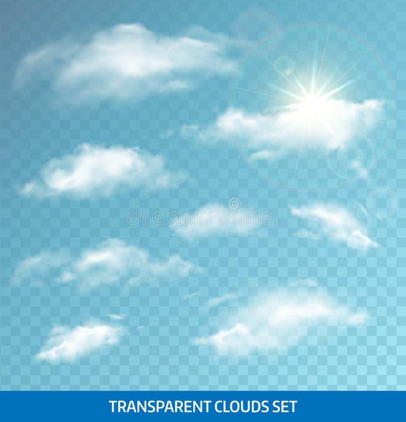 Комплект реалистических прозрачных облаков все любые могут различные легко редактируемые графики формы индивидуально наслаивают д иллюстрация вектора