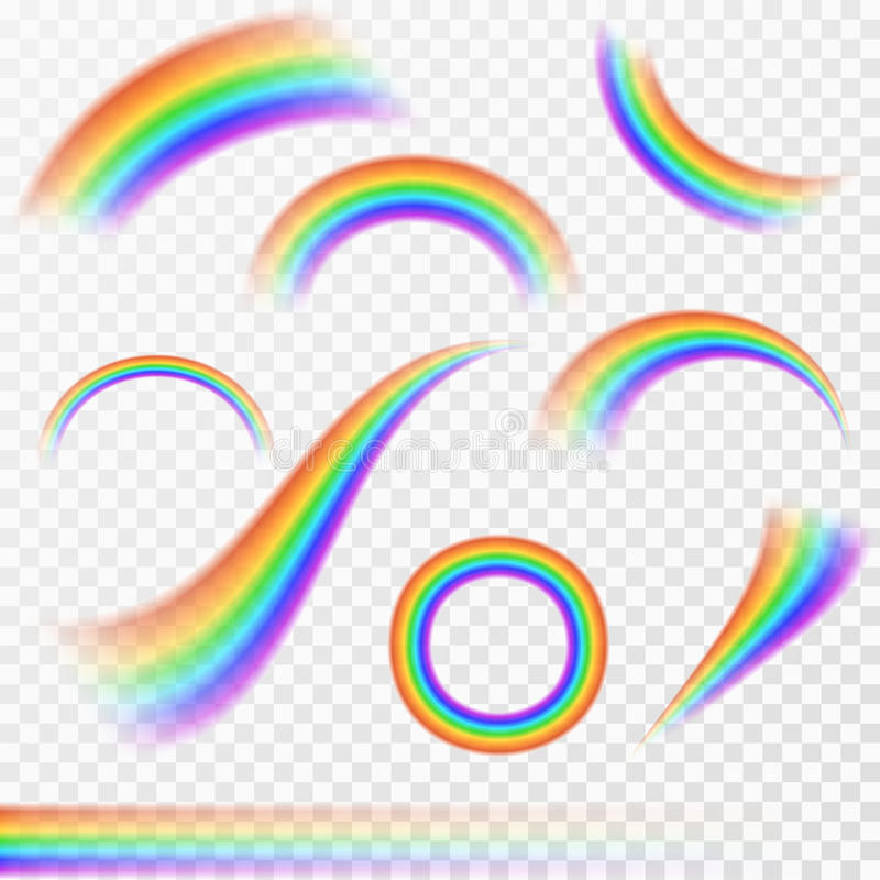 Комплект реалистических радуг в различной форме на прозрачной предпосылке бесплатная иллюстрация