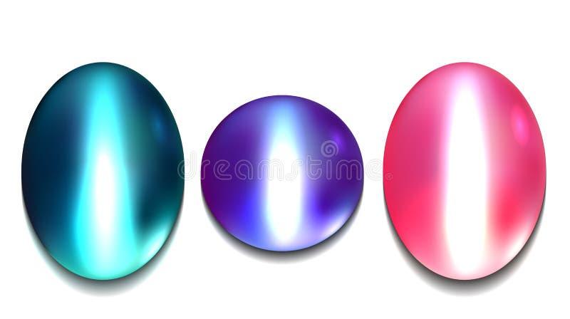 Комплект реалистического пестротканого chrysoberyl самоцветов иллюстрация штока