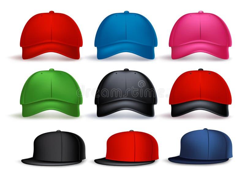 Комплект реалистической бейсбольной кепки 3D для человека с разнообразием цветов иллюстрация штока