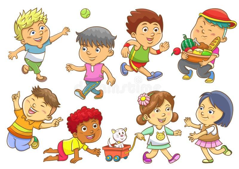 Комплект режимов деятельностям при ребенка иллюстрация вектора