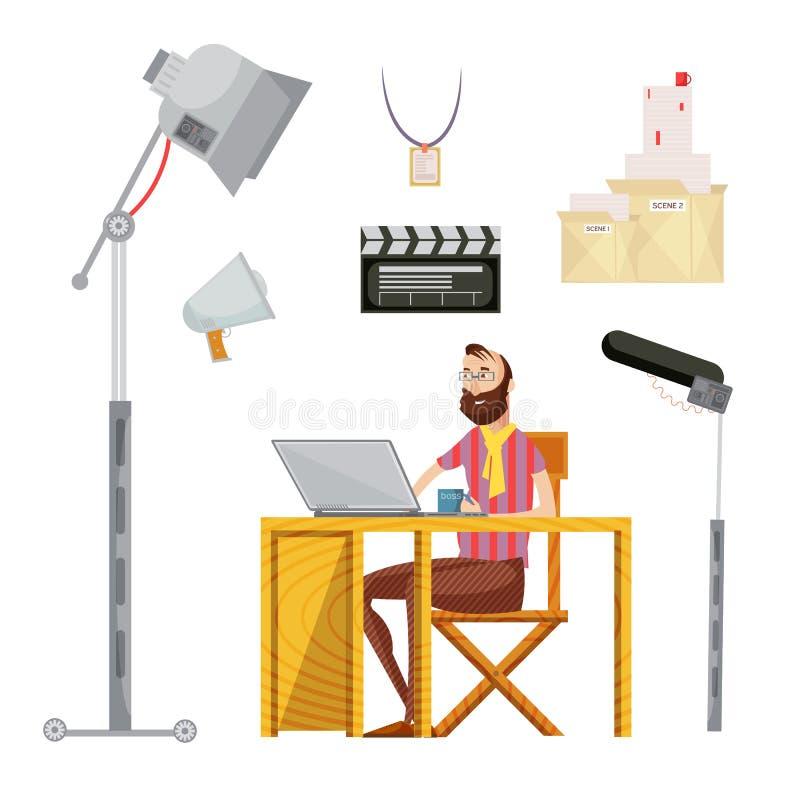 Комплект режиссера фильма иллюстрация вектора