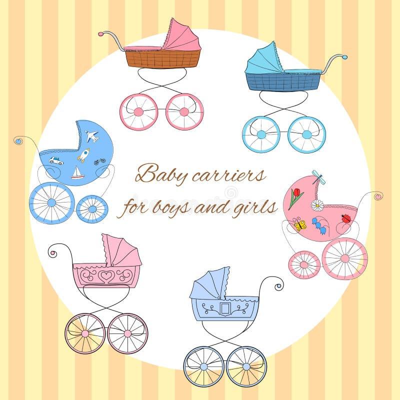 Комплект 6 ретро введенных в моду детских дорожных колясок для детских душей, карточек прибытия иллюстрация штока