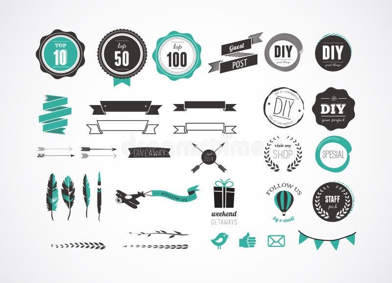 Комплект ретро винтажных значков, лент и ярлыков бесплатная иллюстрация
