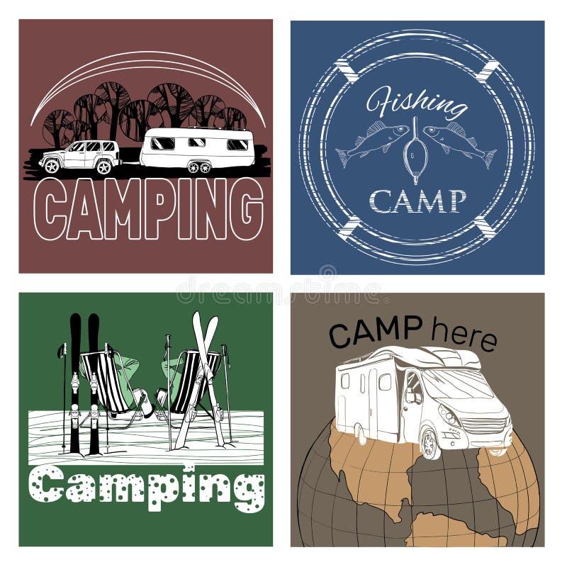Комплект ретро винтажных ярлыков и логотипа лагеря иллюстрация штока