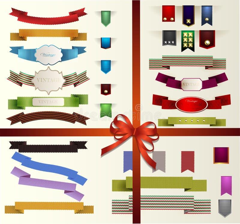Комплект ретро лент, старых пакостных бумажных текстур и винтажных ярлыков, знамен и эмблем. Собрание элементов для дизайна. иллюстрация штока