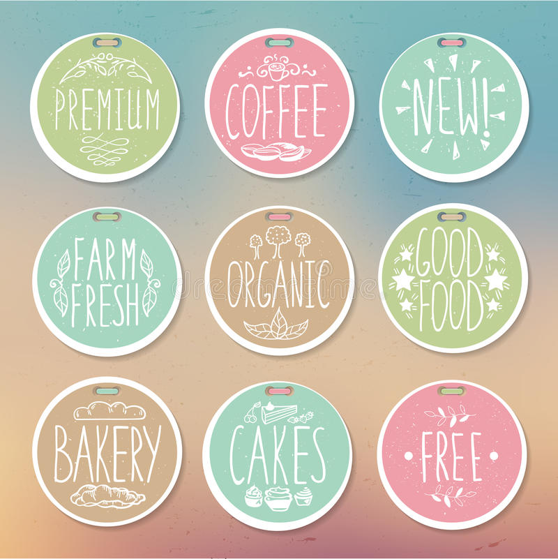 Комплект ретро значков Винтажные ярлыки еды Нарисованная вручную литерность бесплатная иллюстрация