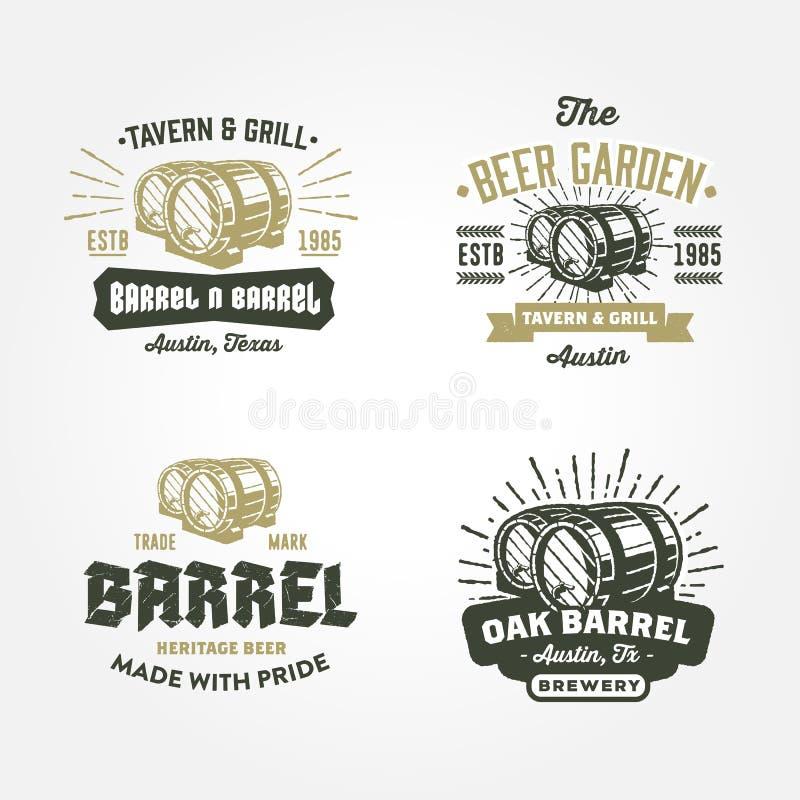 Комплект ретро логотипа значка конструирует с wodden бочонки бесплатная иллюстрация