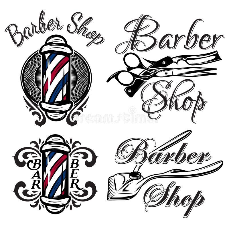 Комплект ретро логотипа парикмахерской Изолировано на белой предпосылке бесплатная иллюстрация