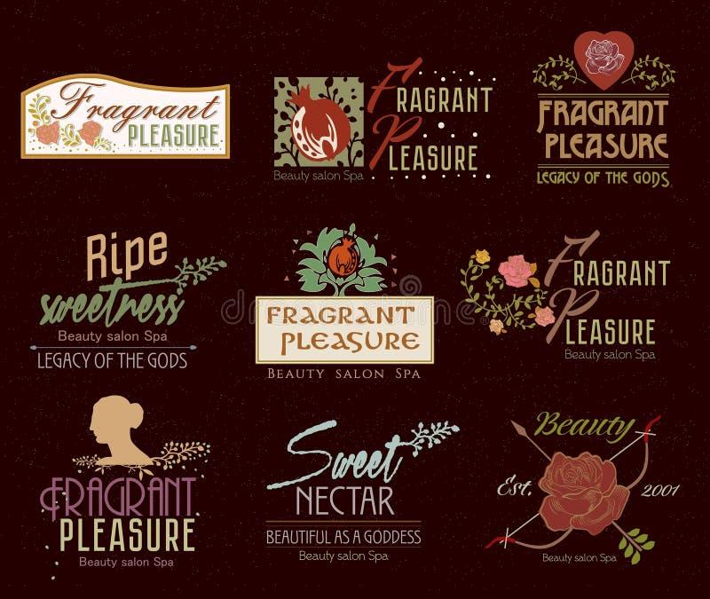 Комплект ретро логотипа, ярлыков и значков курорта салона красоты иллюстрация вектора