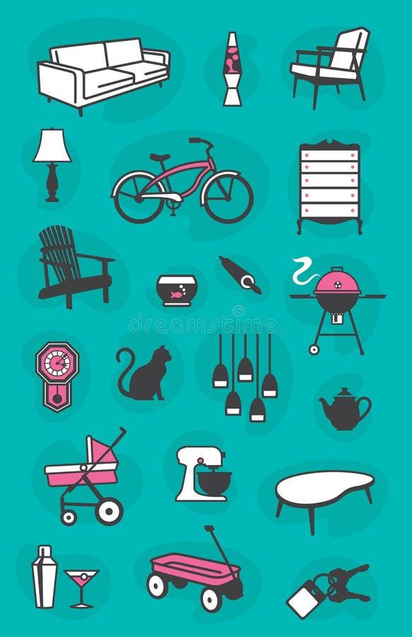 Комплект ретро домашних значков бесплатная иллюстрация