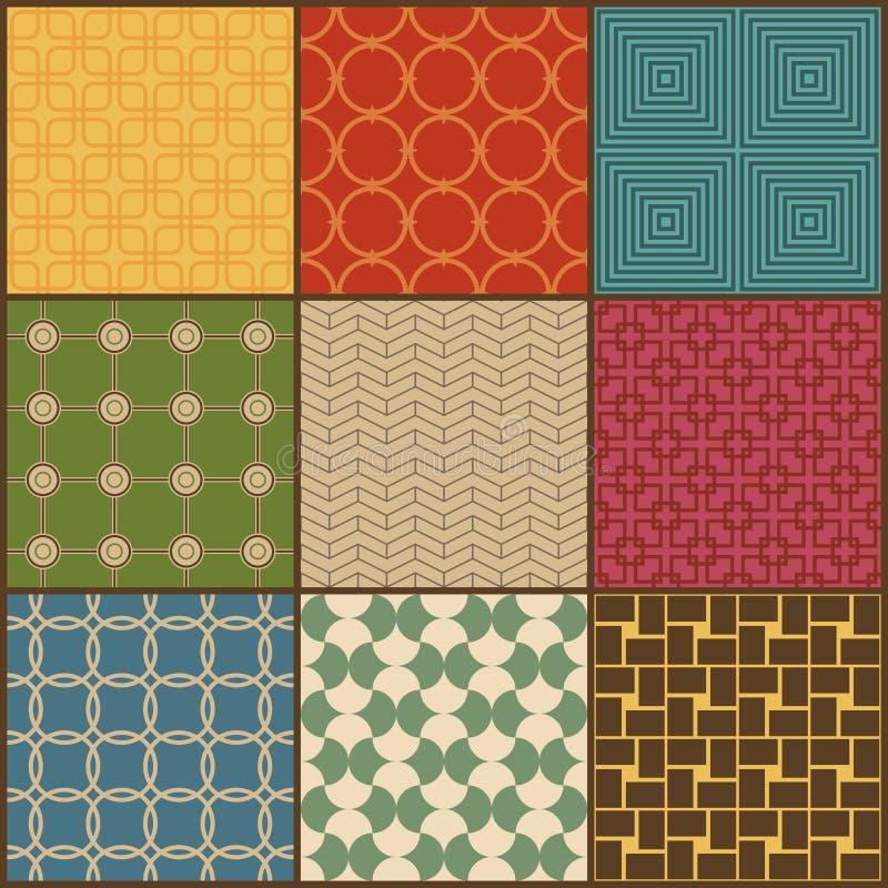 Комплект 9 ретро простых геометрических безшовных картин иллюстрация вектора
