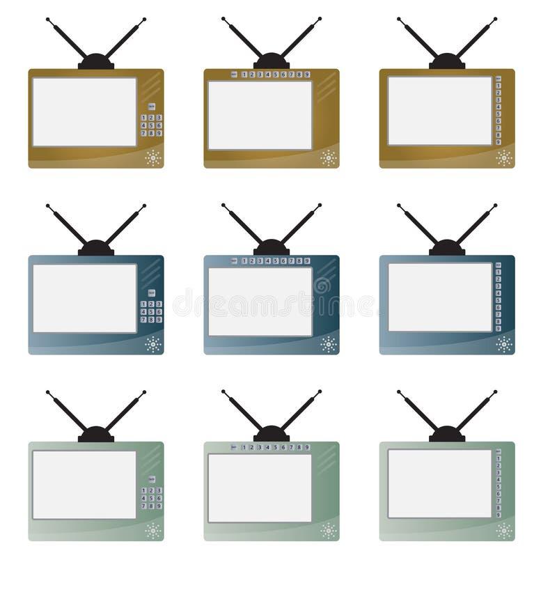 Комплект ретро телевидения числа иллюстрация штока