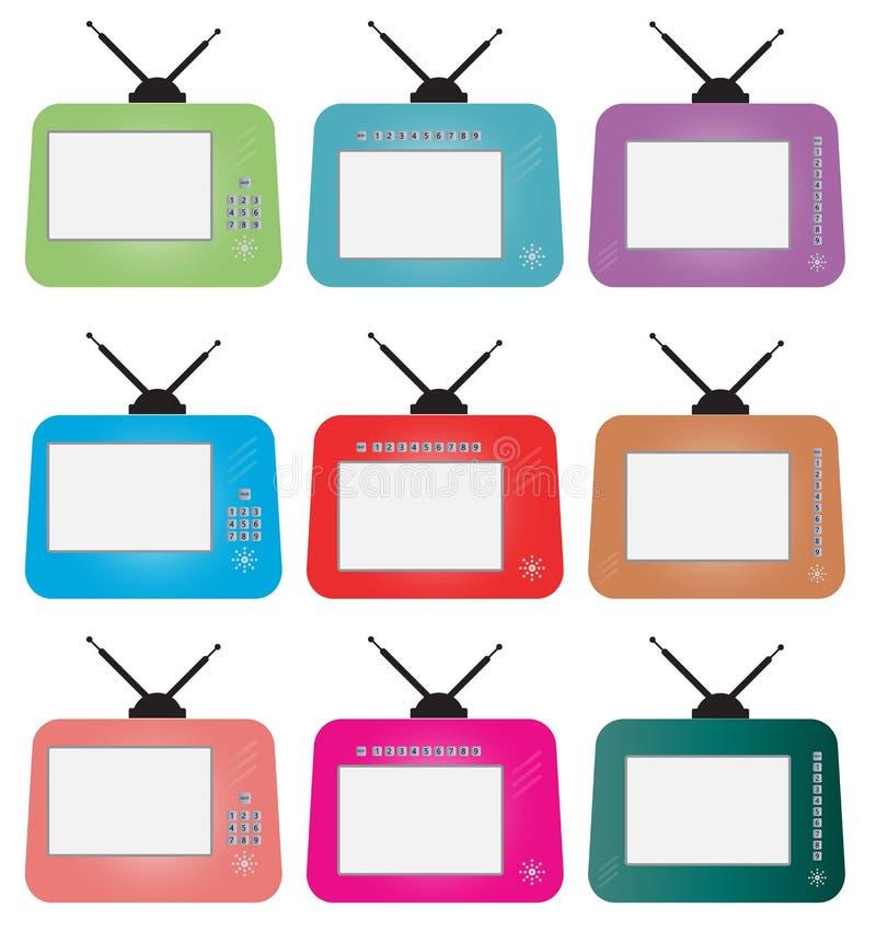 Комплект ретро телевидения числа иллюстрация вектора