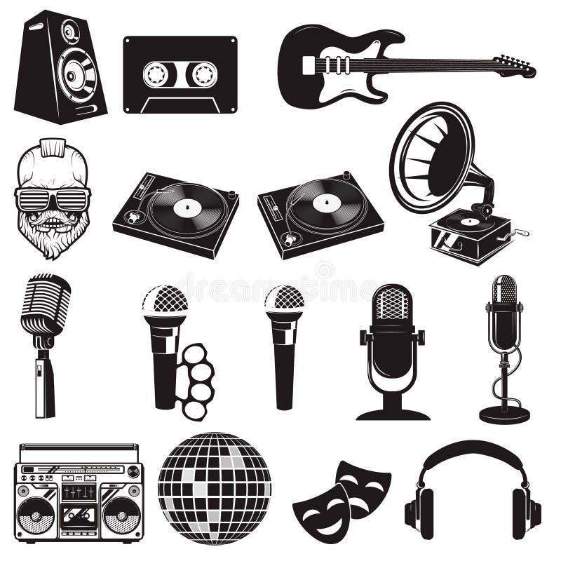 Комплект ретро элементов партии Аппаратуры музыки изолированные на белизне бесплатная иллюстрация