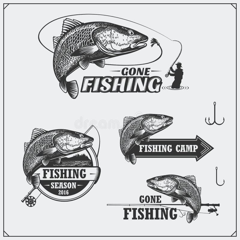 Комплект ретро ярлыков рыбной ловли, значков, эмблем и элементов дизайна Винтажный дизайн стиля иллюстрация штока