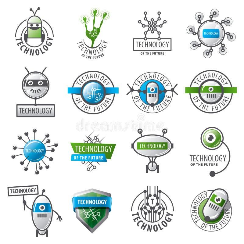 Комплект роботов и новых технологий логотипов вектора иллюстрация вектора