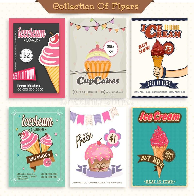 Комплект рогулек мороженого и пирожного иллюстрация вектора