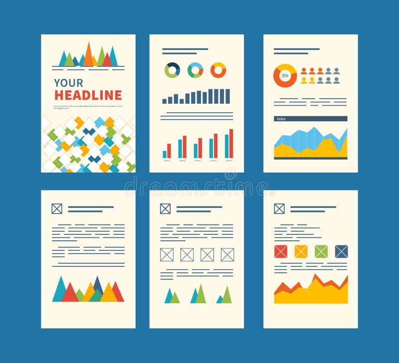 Комплект рогульки, шаблонов дизайна брошюры финансовохозяйственно иллюстрация штока