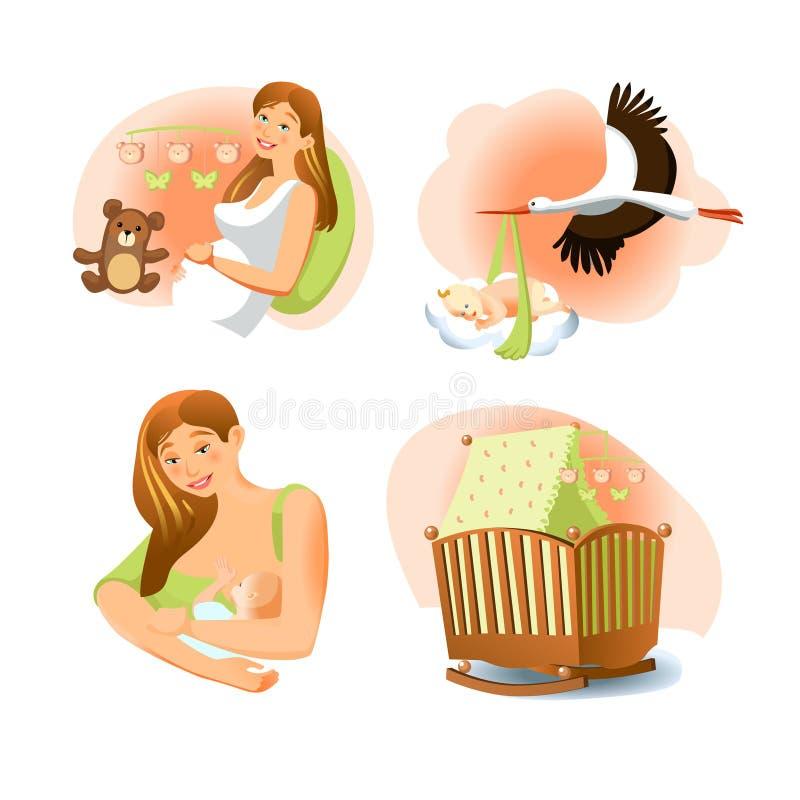 Комплект рождения младенца иллюстрация вектора