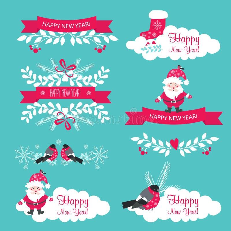 Комплект рождества и Нового Года Ленты, Санта Клаус, снежинки иллюстрация вектора