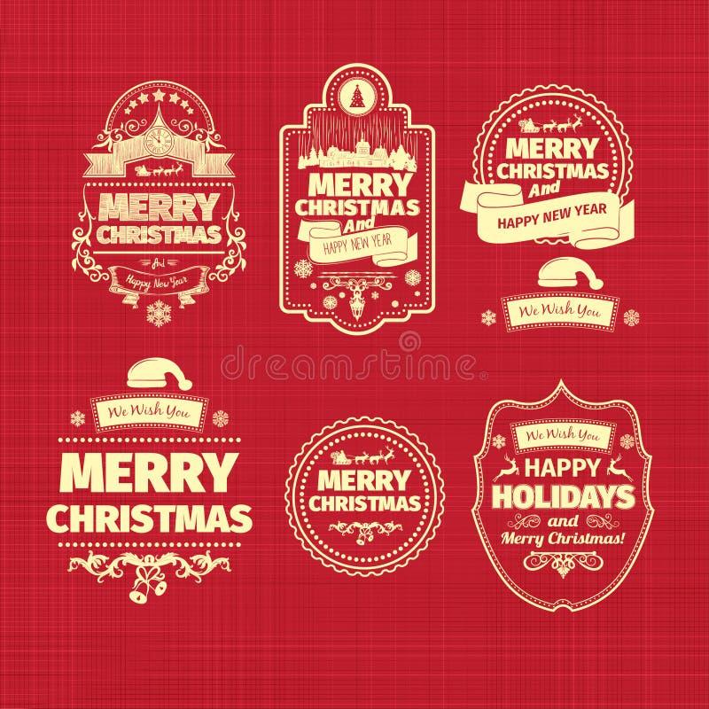 Комплект рождества и счастливые ярлыки значков Нового Года с чистым современным введенным в моду дизайном бесплатная иллюстрация