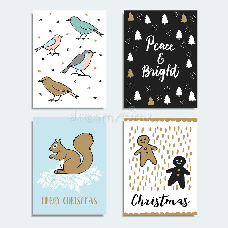 Комплект рождества, поздравительные открытки Нового Года, приглашения вычерченные иллюстрации руки вектор печатания пакетов чонсе иллюстрация вектора