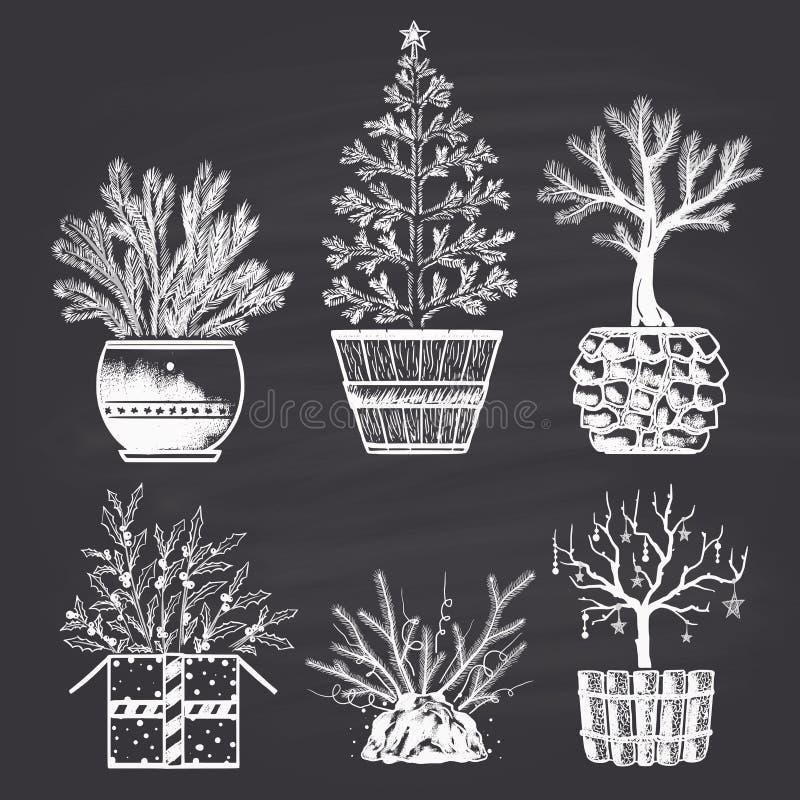 Комплект рождественских елок нарисованных мелом различных в разных видах баков С Рождеством Христовым и счастливый новый 2017 год иллюстрация вектора