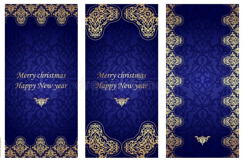 Комплект рождественских открыток в викторианском стиле иллюстрация вектора