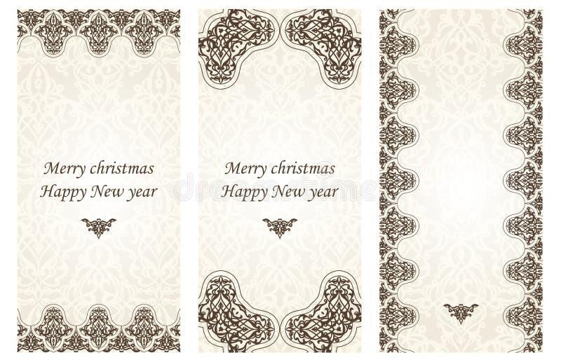 Комплект рождественских открыток в викторианском стиле бесплатная иллюстрация