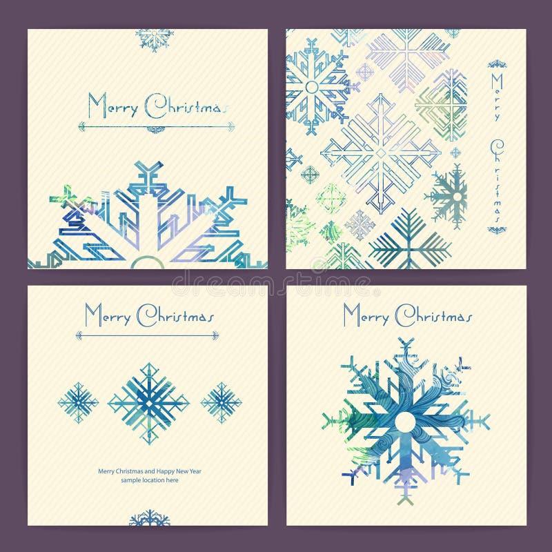 Комплект рождественских открыток праздника иллюстрация штока
