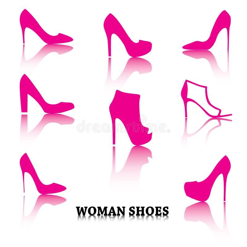 Комплект розовой женщины обувает силуэты с отражениями иллюстрация штока