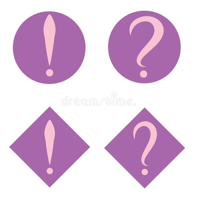 Комплект розовых вопроса и восклицательных знаков в фиолетовых круге и квадрате зацепляет икону Плоский стиль дизайна иллюстрация штока