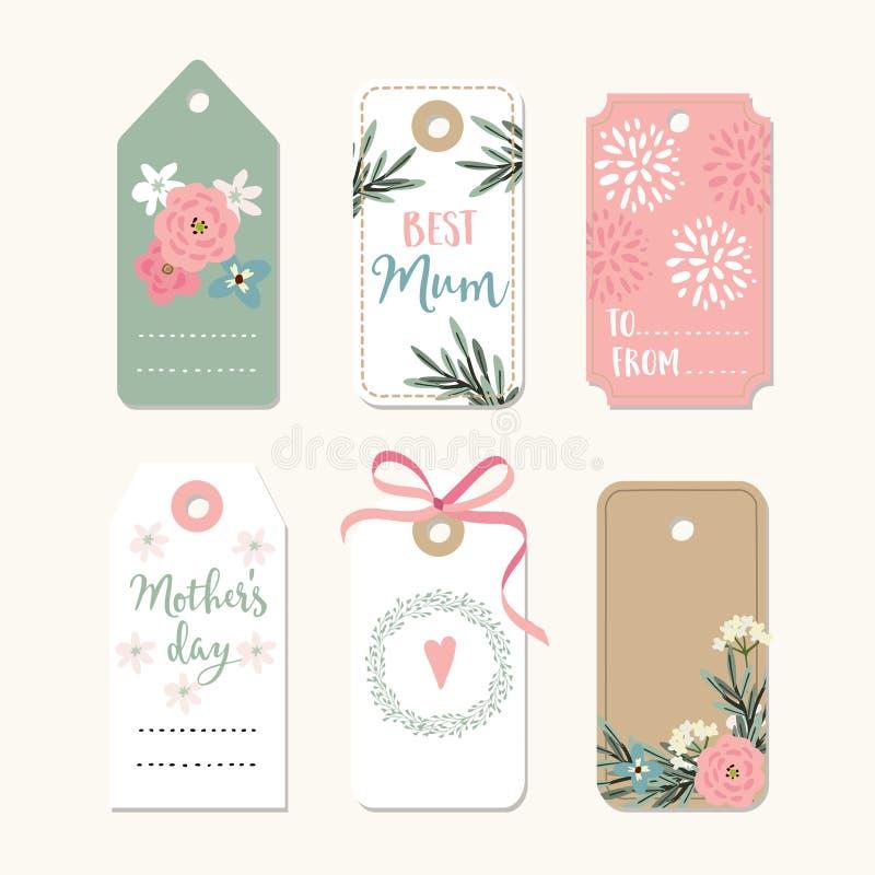Комплект романтичного дня матерей, дня рождения или рамок свадьбы винтажных, подарка маркирует и ярлыки с цветками и розовой лент иллюстрация штока
