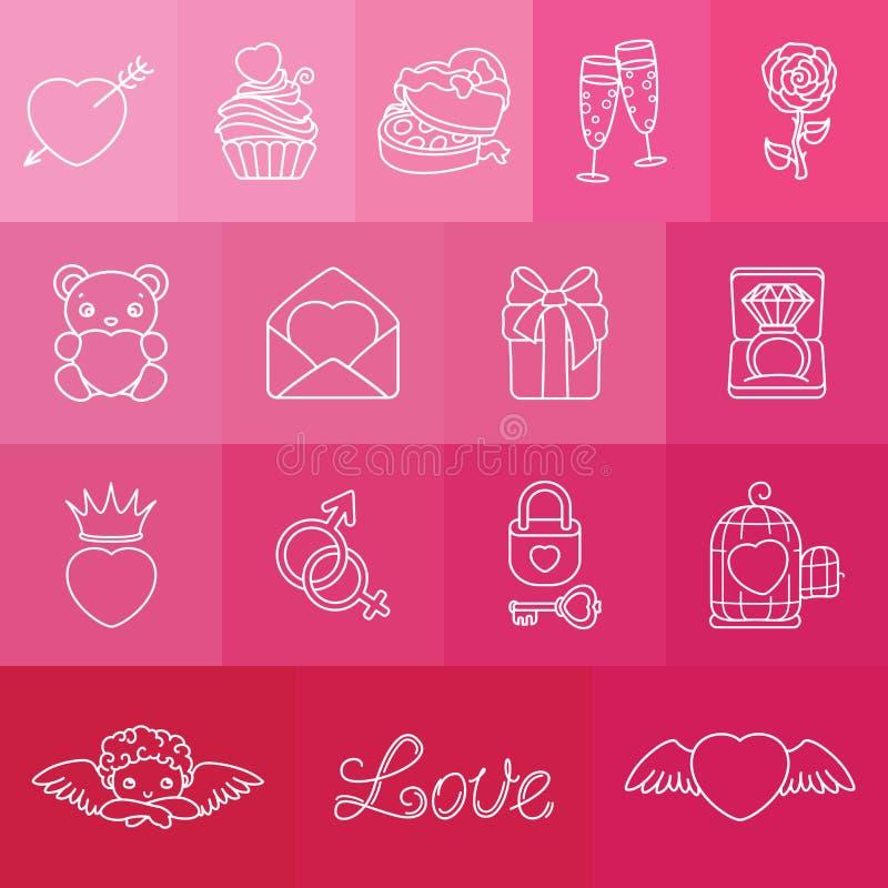 Комплект романтичных символов на день Valentin иллюстрация вектора