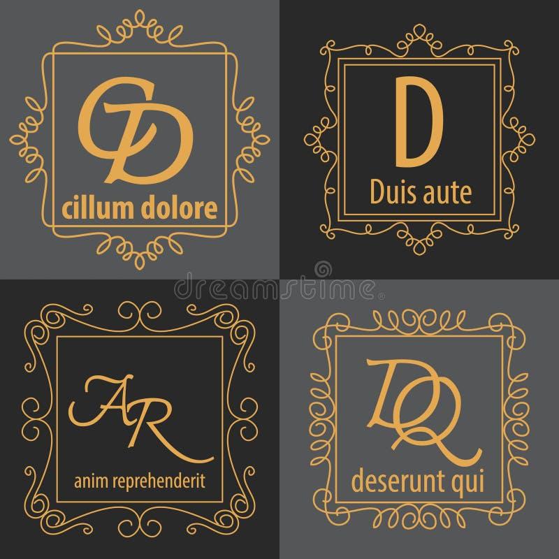 Комплект роскошного шаблона идентичности логотипа вензеля иллюстрация вектора