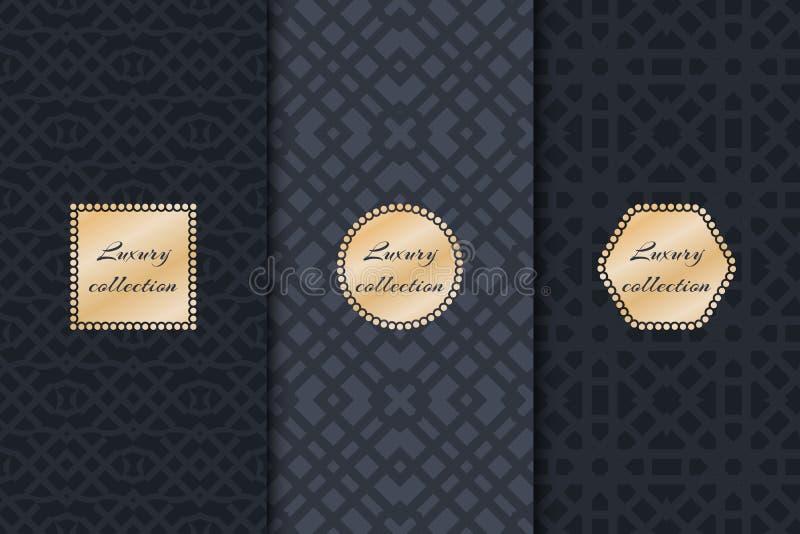 Комплект роскошных винтажных предпосылок иллюстрация вектора