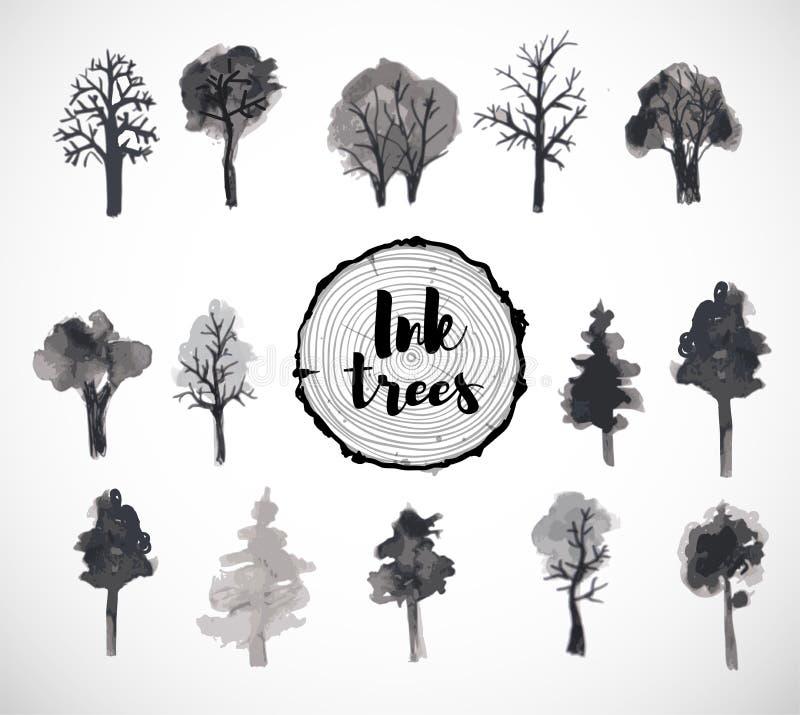 Комплект руки деревьев нарисованный с чернилами бесплатная иллюстрация