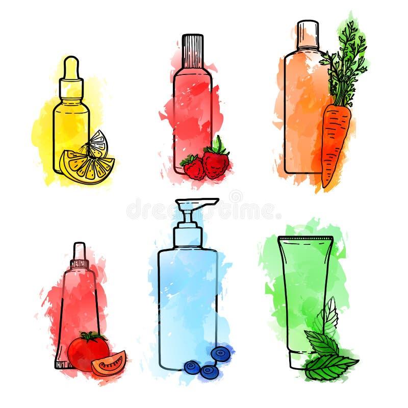 Комплект руки нарисованный органических косметик для заботы кожи Doodles косметических бутылок и пакета с текстурой акварели бесплатная иллюстрация