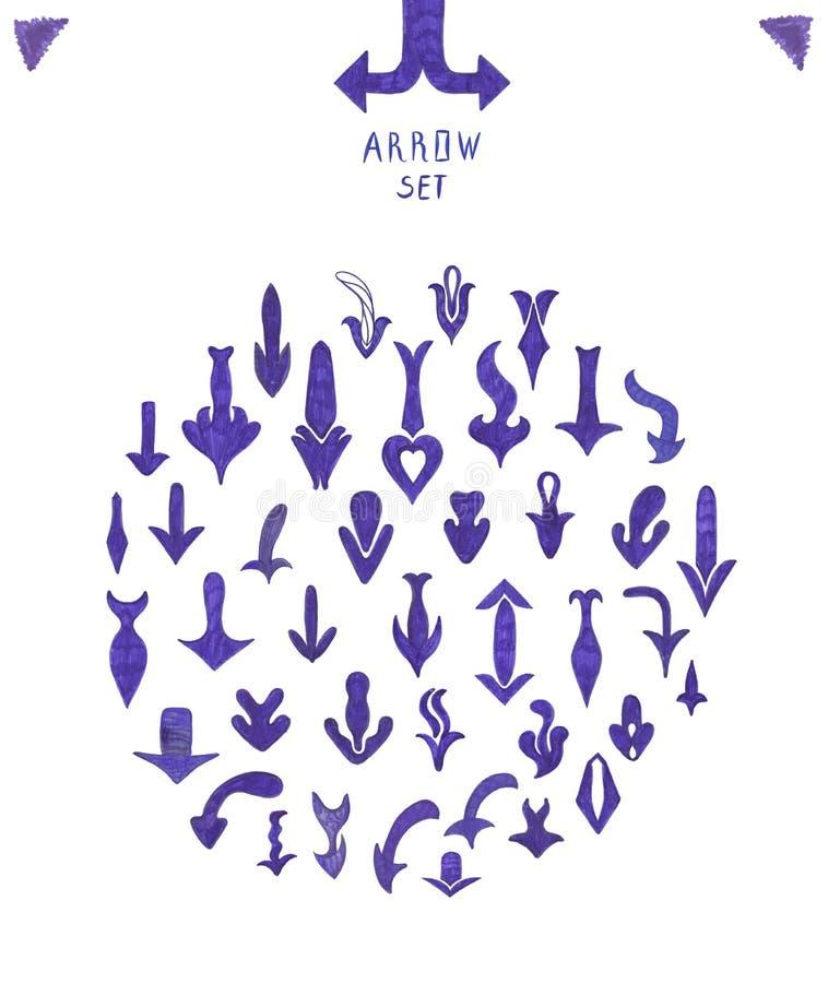 Комплект рукописных голубых стрелок бесплатная иллюстрация
